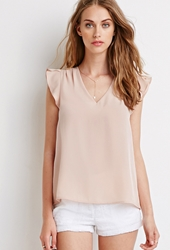 Forever 21 Tulip Sleeve Satin Blouse Light Pink