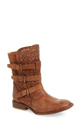 Women's Matisse 'National' Perforated Moto Boot Cognac Leather