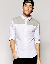 Standard Issue Shirt With Contrast Jersey Yoke White