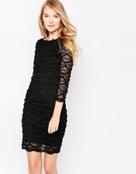 Love Black Long Sleeve Mesh Tassel Dress