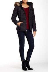 Jessica Simpson Short Faux Fur Trim Quilted Jacket Gray
