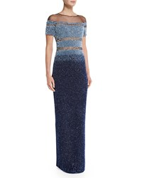 Pamella Roland Short Sleeve Ombre Sequin Gown Light Blue Navy