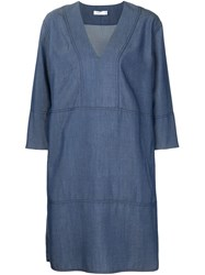 Vince Three Quarter Sleeve Shift Dress Blue