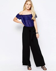 Only Alex Wide Leg Trousers With Belt Black L34