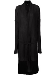 Lost And Found Tie Waist Long Cardigan Black