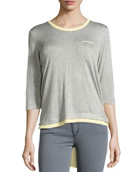P. Luca Layered 3 4 Sleeve High Low Tee Gray Yellow