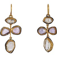 Judy Geib Women's Pink Sapphire And Herkimer Diamond Earrings No Color