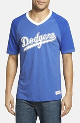 Mitchell Ness 'Los Angeles Dodgers' V Neck T Shirt Royal Blue