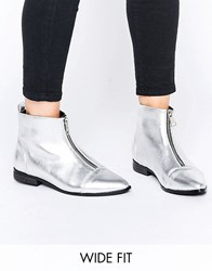 Asos Albie Wide Fit Pointed Ankle Boots Silver