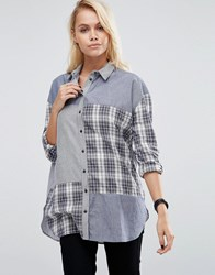 Asos Casual Shirt In Mixed Stripe And Check Multi