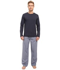 Calvin Klein Underwear Pj Set Long Sleeve Knit Cam Check Hale Blue White Drawcord Men's Pajama Sets Black
