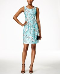 Jessica Howard Petite Sleeveless Printed Fit And Flare Dress Bright Green