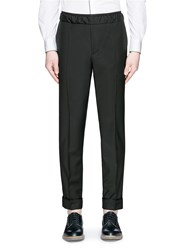 Valentino Pintucked Wool Mohair Jogging Pants Black