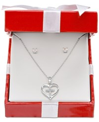 Giani Bernini Cubic Zirconia Heart And Cross Pendant Necklace And Stud Earrings Set In Sterling Silver Only At Macy's
