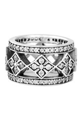 King Baby Studio Sterling Silver Cz Cross Wide Band Ring Metallic