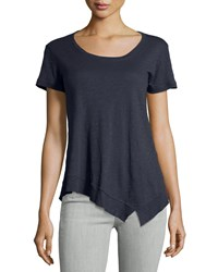 Jethro Short Sleeve Scoop Neck Tee W Asymmetric Hem Inky