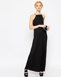 Asos Pleated Swing Maxi Dress Black