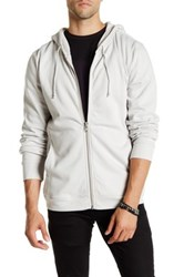 Blk Denim Full Zip Hoodie White