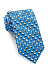Tailorbyrd Silk Sailboat Tie Blue