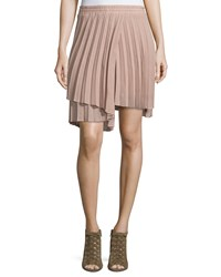 Brunello Cucinelli Asymmetric Pleated Wool Blend Skirt Peanut