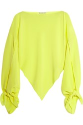 Balenciaga Neon Asymmetric Silk Georgette Top Bright Yellow