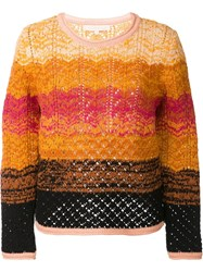 Vanessa Bruno Lace Intarsia Jumper Yellow Orange