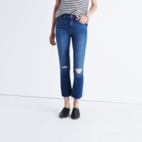 Madewell Cali Demi Boot Jeans In Donovan Wash Knee Rip Edition