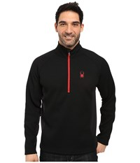 Spyder Outbound Half Zip Mid Weight Core Sweater Black Black Red Men's Long Sleeve Pullover