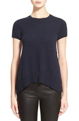 Autumn Cashmere Lace Ruffle Back Cashmere Knit Tee Navy Black