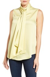 Vince Camuto Women's Sleeveless Charmeuse Bow Neck Blouse Shadow Green