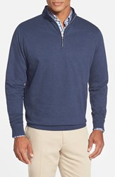 Men's Peter Millar Interlock Quarter Zip Sweatshirt Patriot Navy