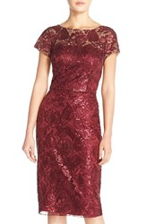 Women's David Meister Sequin Embroidered Mesh Sheath Dress