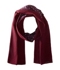 Ted Baker Mondee Woven And Knitted Scarf Dark Red Scarves