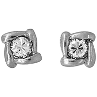Jools By Jenny Brown Overlaping Square Cubic Zirconia Stud Earrings