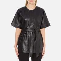 Gestuz Women's Sash Leather Kimono Black