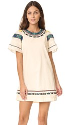 Sea Embroidered Tee Dress Cream