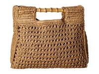 San Diego Hat Company Bsb1560 Crochet Paper Bag With Bamboo Handels And Metal Snap Closure Natural Tote Handbags Beige