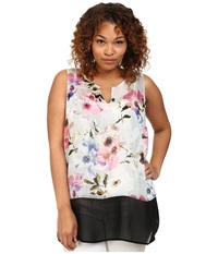 Dkny Plus Size Misty Rose Print And Color Block Tank Top Dove Women's Sleeveless Beige