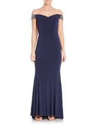 La Femme Jersey Off The Shoulder Beaded Gown Navy