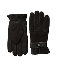 Original Penguin Ribbed Knit And Suede Gloves Brown Extreme Cold Weather Gloves