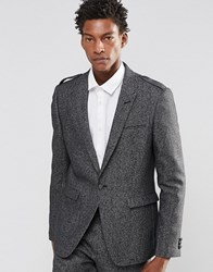 Asos Slim Blazer With Eppaulettes In Tweed Charcoal Grey
