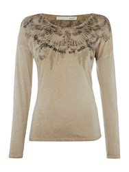 Oui Printed T Shirt With Diamante Detail Beige
