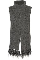 Thakoon Fringed Chunky Knit Turtleneck Vest
