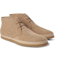 Tod's Raffia Trimmed Suede Chukka Boots Taupe