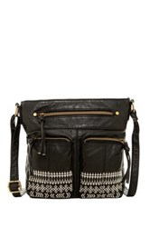 T Shirt And Jeans Embroidered Crossbody Black