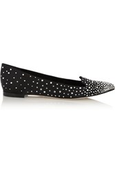 Sergio Rossi Crystal Embellished Satin Point Toe Flats Black