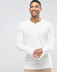 Asos Linen Look Long Sleeve T Shirt With Grandad Neck Off White