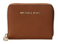 Michael Michael Kors Jet Set Travel Medium Zip Around Luggage Credit Card Wallet Brown