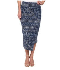 Dkny Batik Print Wrap Maxi Skirt Mood Indigo Women's Skirt Navy