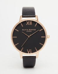 Olivia Burton Big Dial Black Face Rose Gold Plated Watch